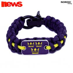 Royal Crown Paracord armband - Navy Blue/Yellow
