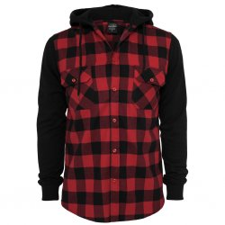 Urban Classics Flanell Hoodie - Red/Black