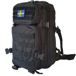 Miltec Assault Backpack Black 25L- Swedish Flag