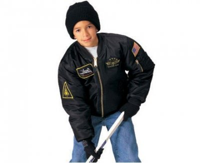 KIDS FLIGHT JACKET WITH PATCHES - BLACK