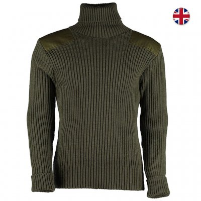 Woolly Pully Roll Neck Sweater 100% Wool - Green