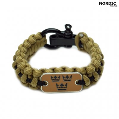 Royal Crown paracord armband kaki - svart