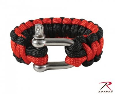 ARMY PARACORD ARMBAND w/ D-SHACKLE Black/Red