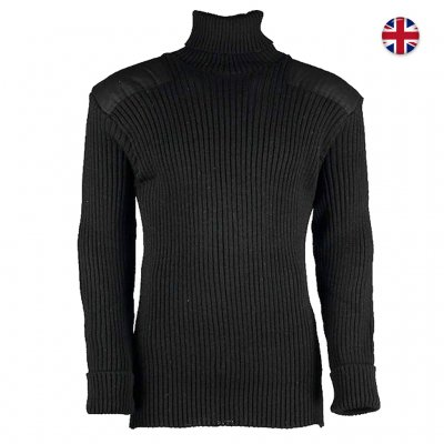 Woolly Pully Roll Neck Sweater 100% Wool - Black